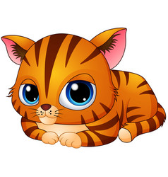 cute kitten cartoon laying down vector image
