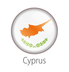 cyprus round button flag vector image