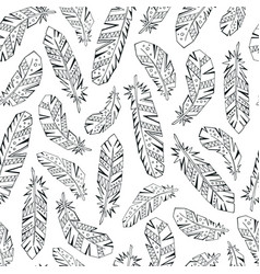 decorative feathers seamless pattern vector image