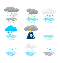 different cloud icons set vector image