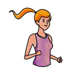 Drawing sport girl athletic fitness image vector