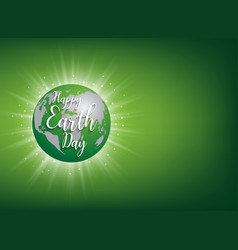 earth day banner lettering on green vector image