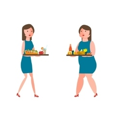 Fat and thin women vector image