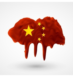 Flag of China painted colors vector