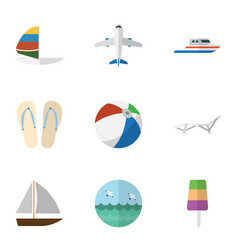 Flat icon beach set of boat ocean aircraft and vector