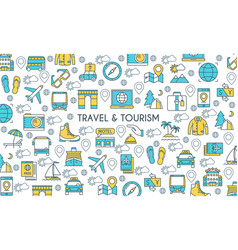 flat line design travel banner vector image