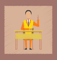 Flat shading style icon pupil at school desk vector