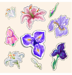 flower stickers tender colors hand drawn in vector image vector image