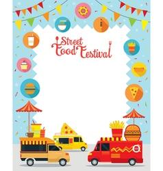 food truck street festival poster frame vector image