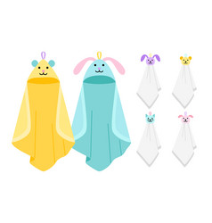 Funny animals kids towels vector