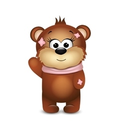Funny bear with waves the paw vector