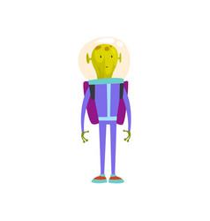 Funny green alien standing with jetpack humanoid vector