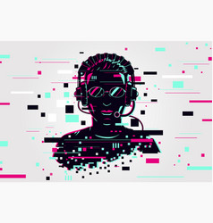 gamer portrait video games background glitch vector image