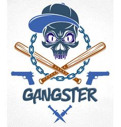 gang brutal criminal emblem or logo with vector image