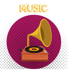 gramophone old fashion icon vector image