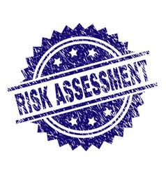 Grunge textured risk assessment stamp seal vector