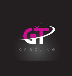 Gt g t creative letters design with white pink vector