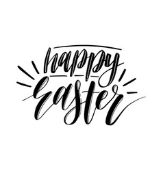 happy easter calligraphy on white vector image
