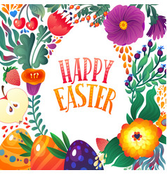 Happy easter greeting card festive floral and vector