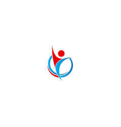happy man abstract winner logo vector image