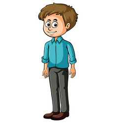 happy man with blue shirt vector image