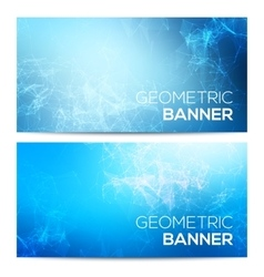 Horizontal banners set with polygonal vector