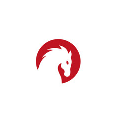 horse head inside a red circle logo design vector image