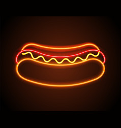 Hot dog neon signboard poster vector