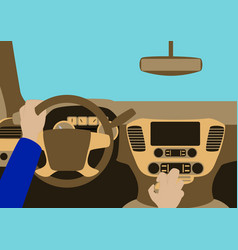 Human hands driving a car vector