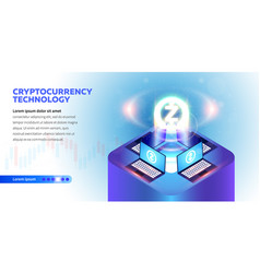isometric cryptocurrency banner vector image