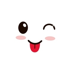 Kawaii happy tongue out facial expression icon vector