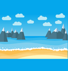 Landscape with summer beach and rocks vector