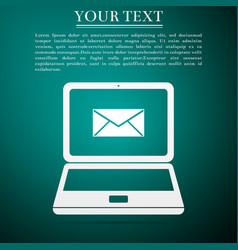 laptop with envelope and open email on screen vector image