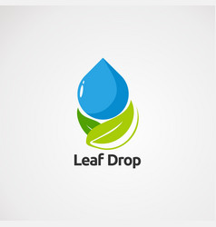 leaf drop with clean concept logo icon element vector image