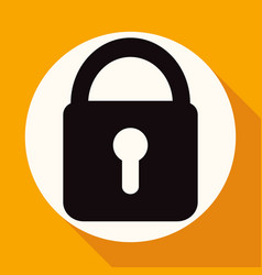 lock icon on white circle with a long shadow vector image