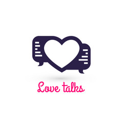 Love talk chat dating heart shape in message vector