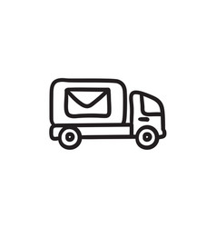 Mail van sketch icon vector