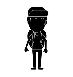 man backpack and cap pictogram vector image
