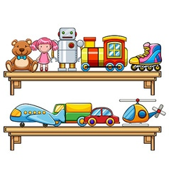 Many toys on the shelves vector