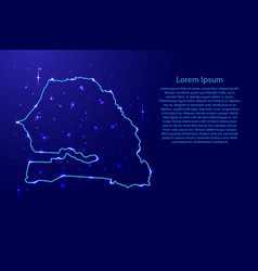 Map senegal from the contours network blue vector