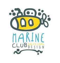 marine club original logo design summer travel vector image