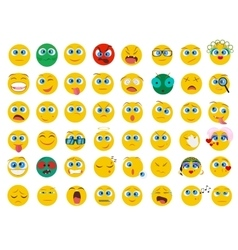 Mega big collection set of flat Emoji face emotion vector image