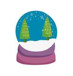 merry christmas celebration snowglobe with trees vector image