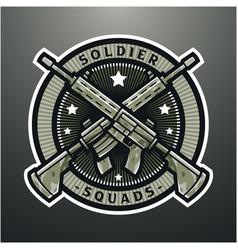 military rifle esport mascot logo design vector image