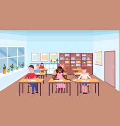 mix race pupils sitting desks and doing tasks vector image