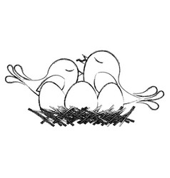 monochrome sketch of bird in nest with eggs and vector image