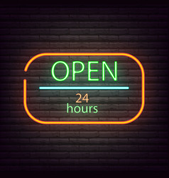 neon sign open shop 24 7 neon light sign vector image