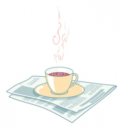 newspaper and coffee vector image