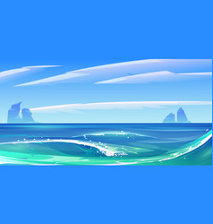 Ocean sea waves with white foam nature landscape vector