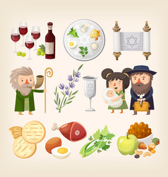 passover or pesach - traditional jewish holiday vector image